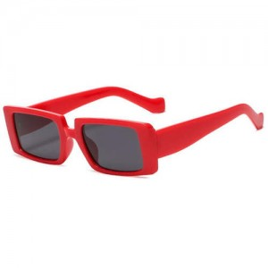 Vintage Style Narrow Square Frame Candy Color Women Wholesale Sunglasses - Red