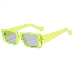 Vintage Style Narrow Square Frame Candy Color Women Wholesale Sunglasses - Fluorescent Green