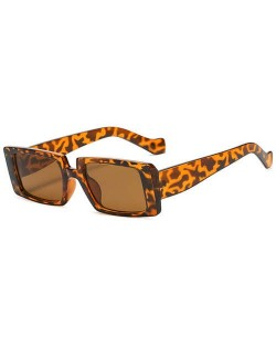 Vintage Style Narrow Square Frame Candy Color Women Wholesale Sunglasses - Leopard