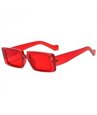 Vintage Style Narrow Square Frame Candy Color Women Wholesale Sunglasses - Clear Red