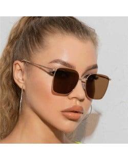 Fashion Wholesale Sunglasses Classic Slim Alloy Frame Jelly Color Sunglasses - Brown