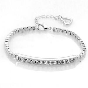Austrian Rhinestones Inlaid Joints Chain Style Platinum Bracelet
