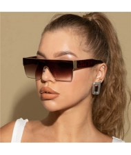 Popolar Square Shape Unique One-piece Design Fashion Women/ Men Wholesale Sunglasses - Leopard