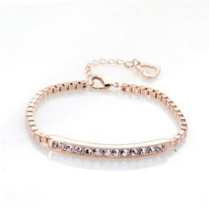 Austrian Rhinestones Inlaid Joints Chain Style Rose Gold Bracelet