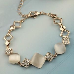 Rhinestone Inlaid Geometric Opal 18K Rose Gold Bracelet
