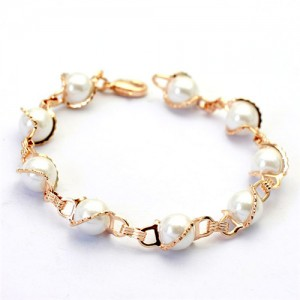 Exquisite Rose Gold Wrapped Pearls Bracelet