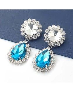 Shining Floral Teardrop-shaped U.S. Party Fashion Women Wholesale Costume Earrings - Blue