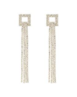 Korean Fashion Square Shape Bling Rhinestone Tassel Long Style Women Wholesale Earrings