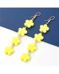 Yellow Flowers Bohemian Style Multi-layer Design Fish Hooks Women Wholesale Earrings