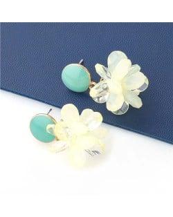 Sweet Artificial Wholesale Jewelry Crystal Flowers Fashion U.S. Style Dangling Women Earrings - Green