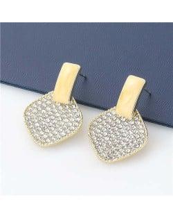 Rhombus Shape Rhinestone Inlaid Korea Fashion Women Stud Wholesale Earrings - Yellow