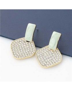 Rhombus Shape Rhinestone Inlaid Korea Fashion Women Stud Wholesale Earrings - Green