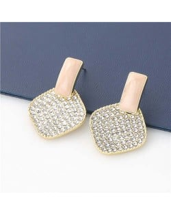 Rhombus Shape Rhinestone Inlaid Korea Fashion Women Stud Wholesale Earrings - Pink