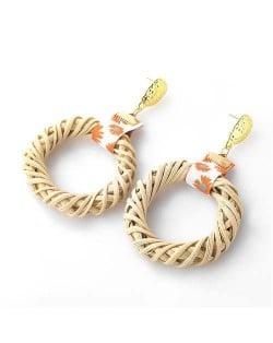 Weaving Straw Vintage Style U.S. Women Wholesale Hoop Earrings - White