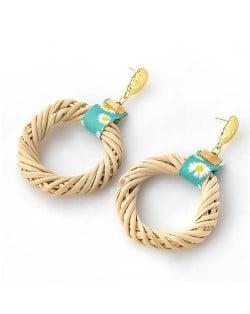 Weaving Straw Vintage Style U.S. Women Wholesale Hoop Earrings - Green