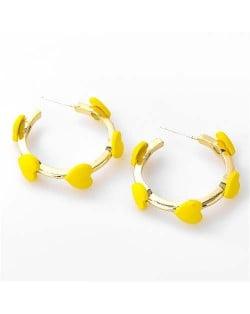French Fashion Wholesale Jewelry Mini Hearts Embellished Alloy Women Hoop Earrings - Yellow