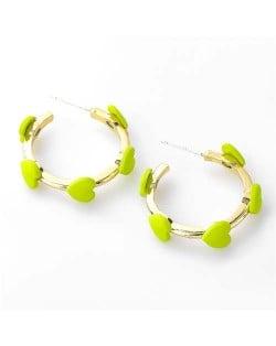 French Fashion Wholesale Jewelry Mini Hearts Embellished Alloy Women Hoop Earrings - Green