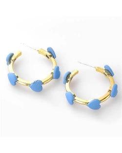 French Fashion Wholesale Jewelry Mini Hearts Embellished Alloy Women Hoop Earrings - Blue