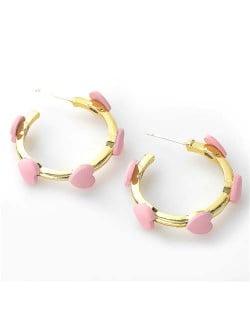 French Fashion Wholesale Jewelry Mini Hearts Embellished Alloy Women Hoop Earrings - Pink
