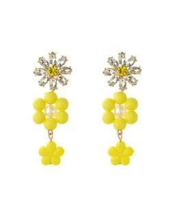 Yellow Rhinestone Flower Design U.S. Wholesale Fashion Jewelry Women Resin Dangle Earrings