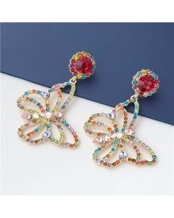 Wholesale Jewelry Gorgeous Hollow-out Colorful Rhinestone Butterfly Women Earrings - Red