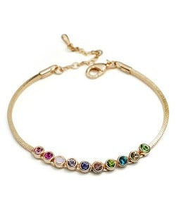 Multicolored Austrian Crystal Inlaid Rose Gold Bracelet