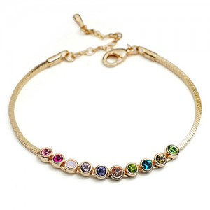 Multicolored Austrian Crystal Inlaid Rose Gold Bracelet