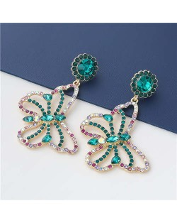 Wholesale Jewelry Gorgeous Hollow-out Colorful Rhinestone Butterfly Women Earrings - Green