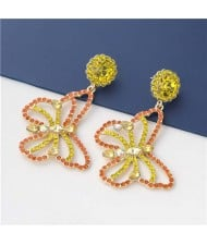 Wholesale Jewelry Gorgeous Hollow-out Colorful Rhinestone Butterfly Women Earrings - Yellow