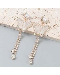 Wholesale Fashion Jewelry Shiny Rhinestone Cute Butterfly Tassel Design Dangle Earrings