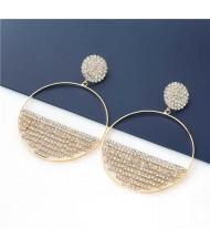 Glistening Rhinestone Semicircle Embellished Wholesale Jewelry U.S. Fashion Women Hoop Earrings - Golden