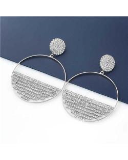 Glistening Rhinestone Semicircle Embellished Wholesale Jewelry U.S. Fashion Women Hoop Earrings - Silver