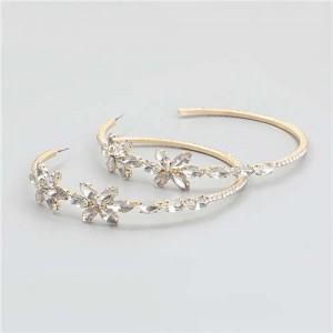 Rhinestone Flowers Design Wholesale Jewelry Korean Fashion Women Hoop Earrings - White