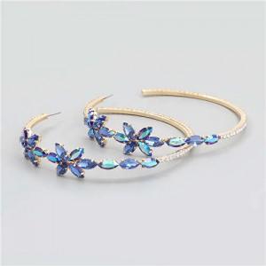 Rhinestone Flowers Design Wholesale Jewelry Korean Fashion Women Hoop Earrings - Blue