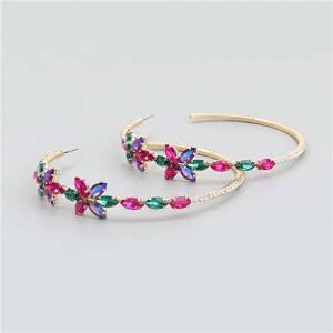 Rhinestone Flowers Design Wholesale Jewelry Korean Fashion Women Hoop Earrings - Multicolor