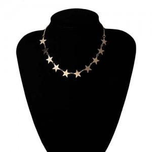 Star Fashion Wholesale Jewelry Vintage Women Statement Necklace - Golden