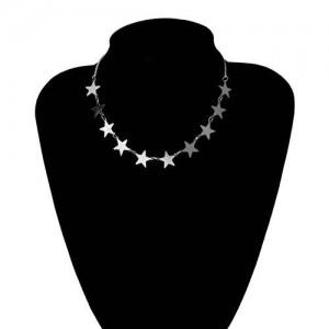 Star Fashion Wholesale Jewelry Vintage Women Statement Necklace - Silver