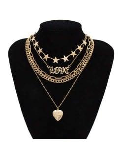 Love Alphabets Stars and Heart Pendant Combo Design Multi-layer Chain Women Wholesale Costume Necklace - Golden