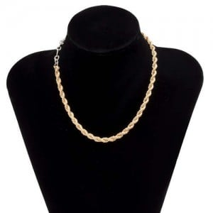 Golden and Silver Twist Chain U.S. Wholesale Jewelry Fashion Women Alloy Simple Design Necklace