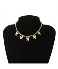 Wholesale Jewelry Butterfly Tassel Rhinestone Inlaid Design Korean Fashion Women Temperament Necklace - Golden