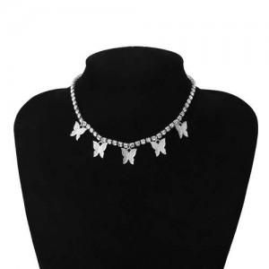 Wholesale Jewelry Butterfly Tassel Rhinestone Inlaid Design Korean Fashion Women Temperament Necklace - Silver