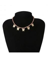 Wholesale Jewelry Butterfly Tassel Rhinestone Inlaid Design Korean Fashion Women Temperament Necklace - Golden Pink