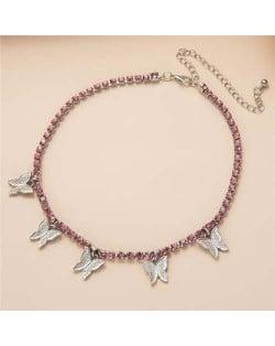 Wholesale Jewelry Butterfly Tassel Rhinestone Inlaid Design Korean Fashion Women Temperament Necklace - Silver Pink