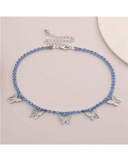 Wholesale Jewelry Butterfly Tassel Rhinestone Inlaid Design Korean Fashion Women Temperament Necklace - Silver Blue