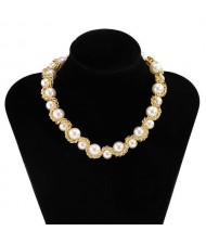Luxurious Baroque Style Chain Winding Design Artificial Pearl Wholesale Fashion Necklace