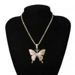 Shining Rhinestone Butterfly Pendant Chain Fashion Women Wholesale Statement Necklace - Golden