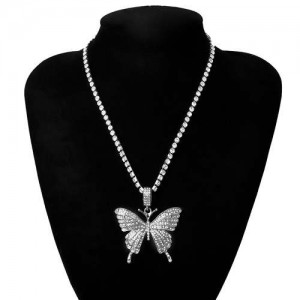 Shining Rhinestone Butterfly Pendant Chain Fashion Women Wholesale Statement Necklace - Silver