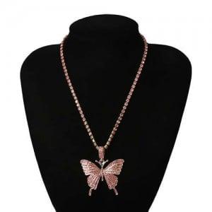 Shining Rhinestone Butterfly Pendant Chain Fashion Women Wholesale Statement Necklace - Pink