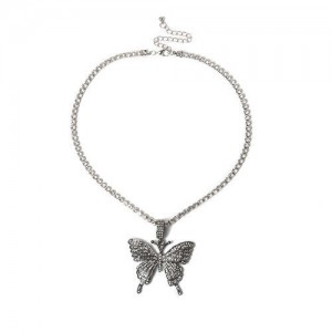 Shining Rhinestone Butterfly Pendant Chain Fashion Women Wholesale Statement Necklace - Black