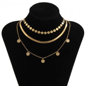 U.S. Fashion Wholesale Jewelry Simple Design Round Iron Sheets Pendant Women Necklace - Golden